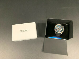 Seiko-Men-039-s-Chronograph-Black-and-Blue-Watch-8T63-00J0-LIGHTLY-USED
