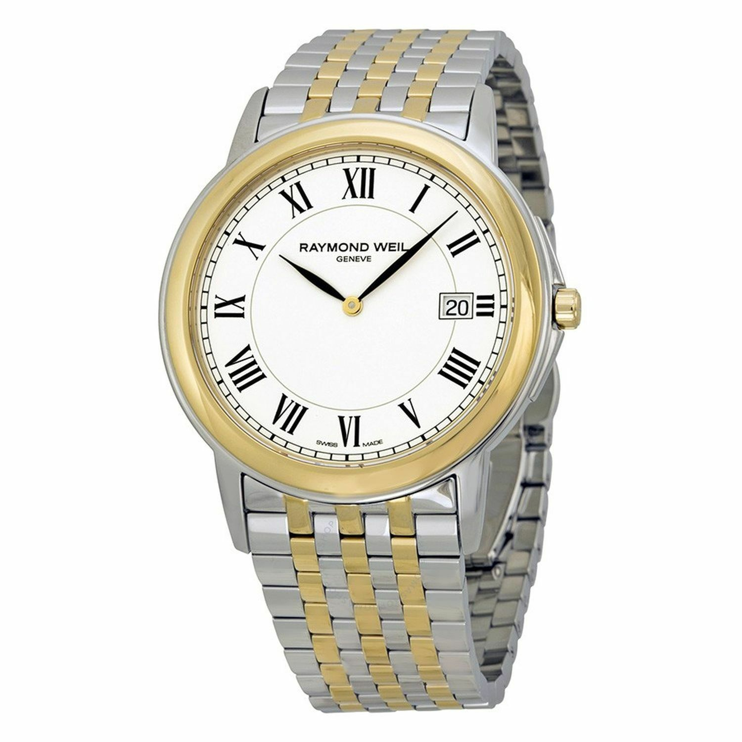 00300 Two Dial Raymond Tradition 5466 White Watch Weil Stp Tone Mens b7Ygm6yvIf