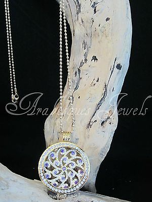 SMALL MI MILANO NECKLACE/PENDANT/CARRIER  SET/CRYSTAL SWIRL COIN/MONEDA GOLD
