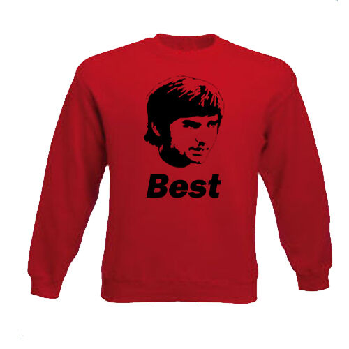 GEORGE BEST MAN UTD MANCHESTER UNITED FOOTBALL HERO JUMPER SWEATSHIRT RED GREY