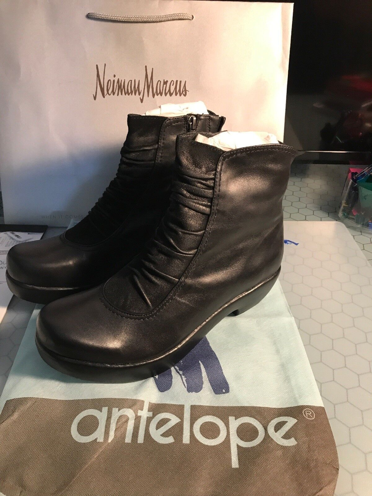 Antelope 576 Ankle Boot Black Suede   Leather Size 41 Women's NIB