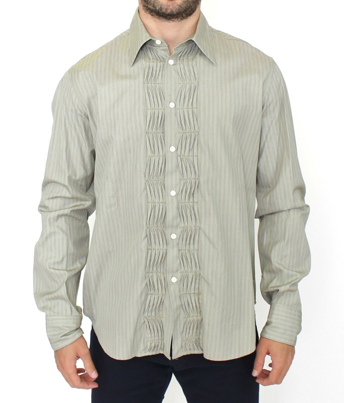 NWT  ERMANNO SCERVINO Green Striped Cotton Casual Long Sleeve Shirt IT50   L