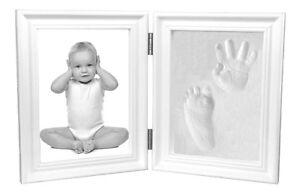 Proud Baby Clay Hand & Footprint Keepsake & Photo Bi-Fold Frame Kit - White