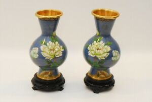 2-Cloisonne-Blue-Floral-Metal-Vases-With-Wooden-Stands-8-25-Inch