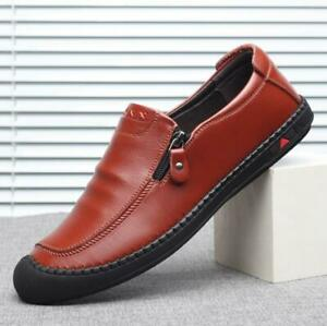 men's zipper loafers oxfords slip on leather casual shoes
