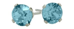 1-10Ct-Genuine-5mm-Round-Blue-Topaz-14K-WG-Stud-Earrings