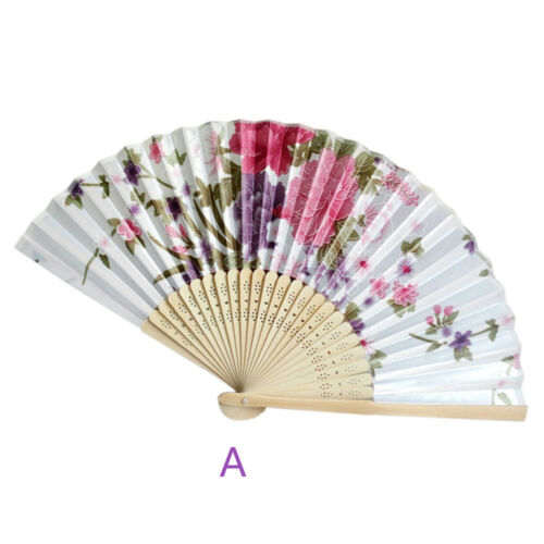 Vintage Bamboo Folding Hand Held Flower Fan Chinese Dance Party Pocket Lively Q