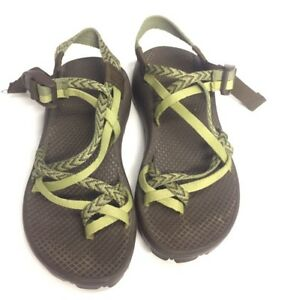 55b28f105b76 LN Chacos Chaco 5 Green Brown Double Toe Strap X2 Vibram Water Sport ...