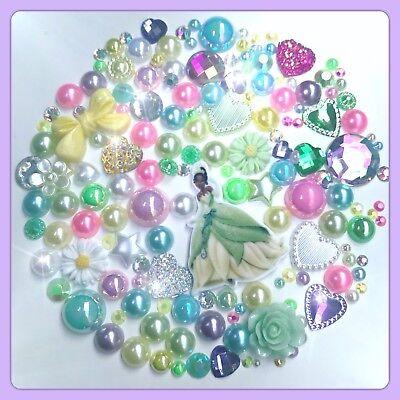 Green Disney Princess Theme Cabochon Gem /& pearl flatbacks for decoden craft #2