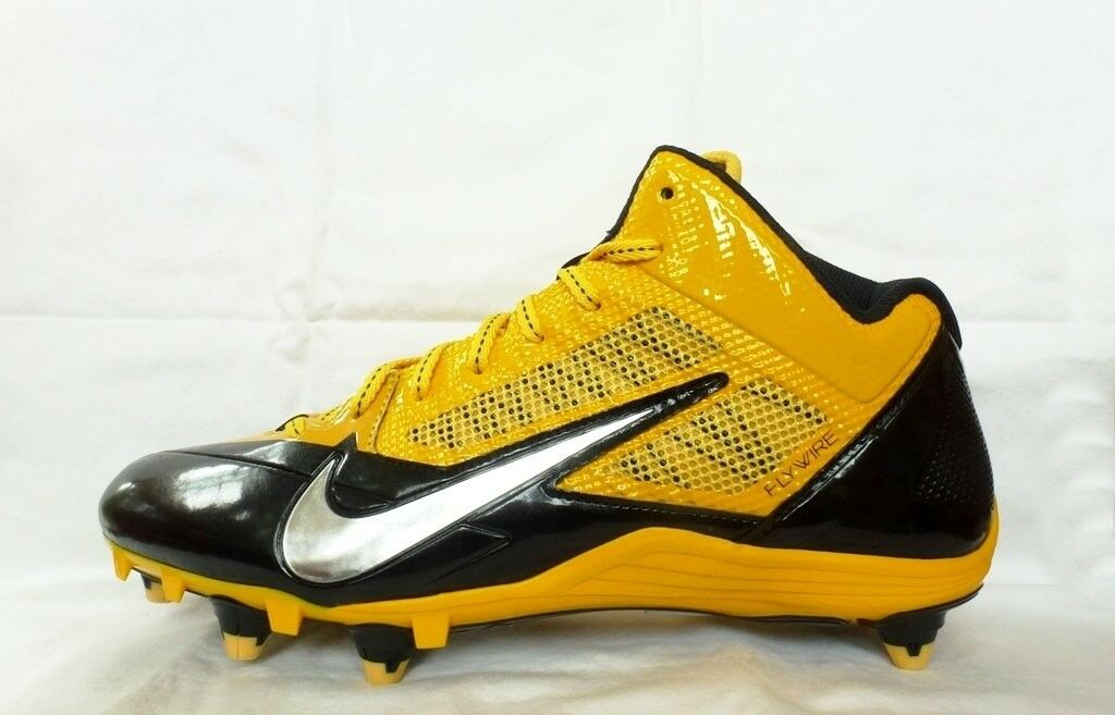 110 Mens NIKE Alpha Pro Mid 3 4 D Sz 10 FLYWIRE Football shoes BLACK Yellow