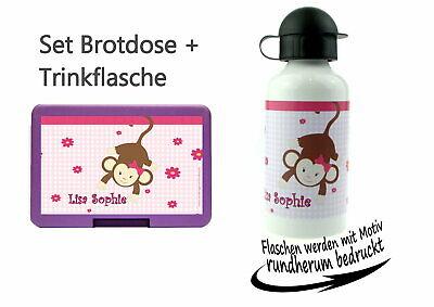 Brotdose Pausenbox Brotbox mit Namen Trinkflasche Alutrinkflasche Design Affe