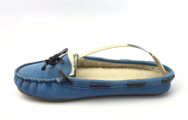 LL BEAN Blue  Suede Slippers Moccasins Women's Size 9 M Sherpa Lined