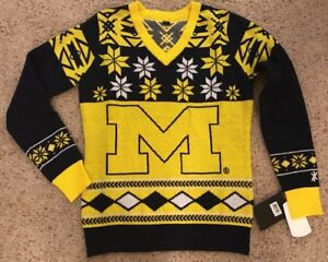 c38e47beca4d8 Klew Michigan Wolverines Women s Logo Ugly Christmas V-Neck Sweater ...