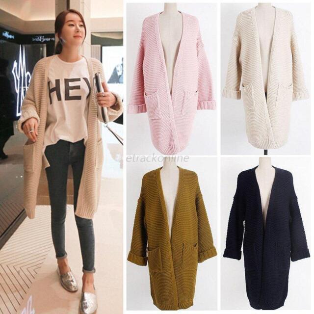 Women Long Sleeve Warm Knitted Cardigan Loose Sweater Outwear Casual Jacket Coat