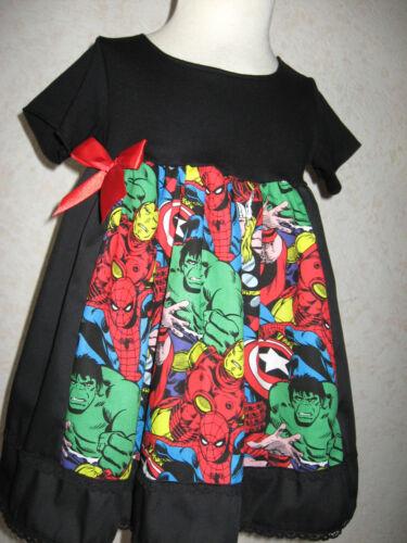 Nouveau bébé fille noir marvel hulk en dentelle blouse robe bandeau set cadeau goth party