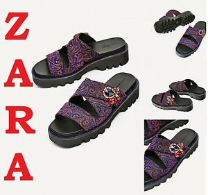 Zara Embroidered Track Sole New 89 90 Purple Sandals