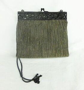 Vintage purse clutch handbag metalic silk mesh cast iron decor closer India