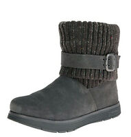 Skechers Adorbs Charcoal Grey Suede Flat Memory Foam Knitted Ankle Boots 3-8