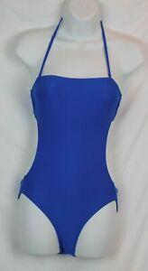 J.Crew $88 Cutout Halter One-Piece Swimsuit NWT Navy Blue 4 S Small B9713