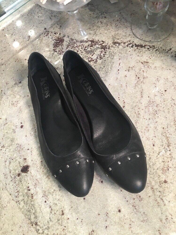 KORKS by Kork Ease JULIE nero Leather Ballet Flats donna 42 10 Studded Cap Toe
