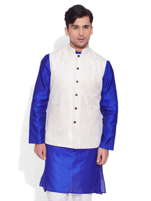 Very Me Men's Faux Silk Ivory Nehru Jacket(MFNJ1507)