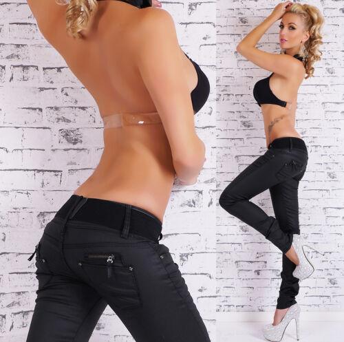 Donna Hipster Jeans Nero Jeans Attillati Bagnato Pantaloni Cintura Taglia UK 6-14