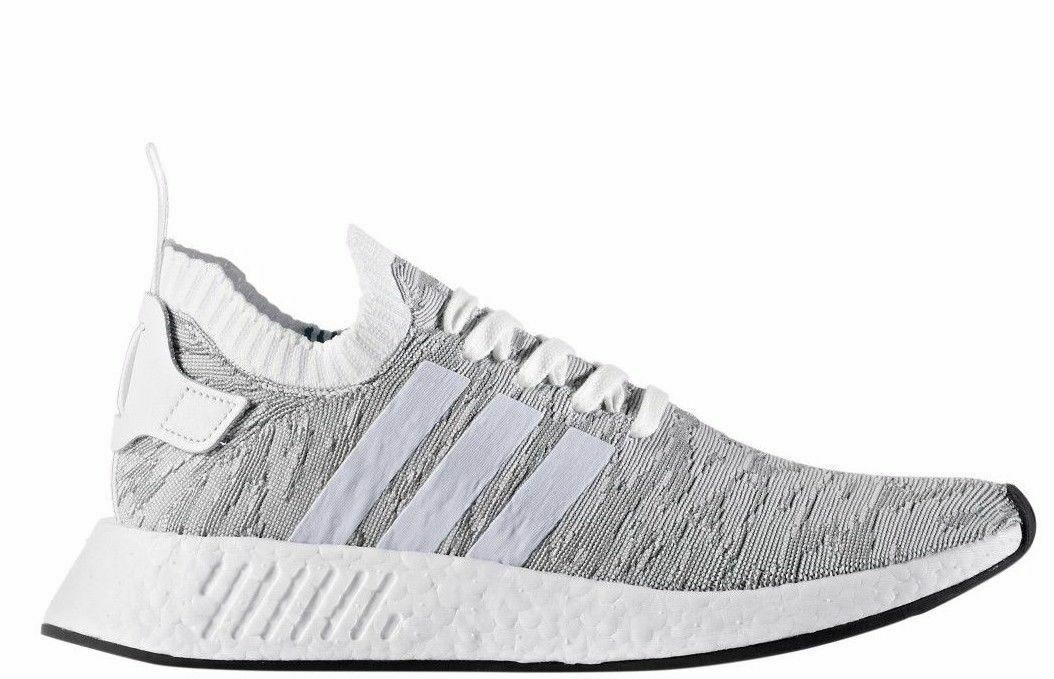 Mens Adidas Originals NMD_R2 PK Primeknit - Grey White Size 9