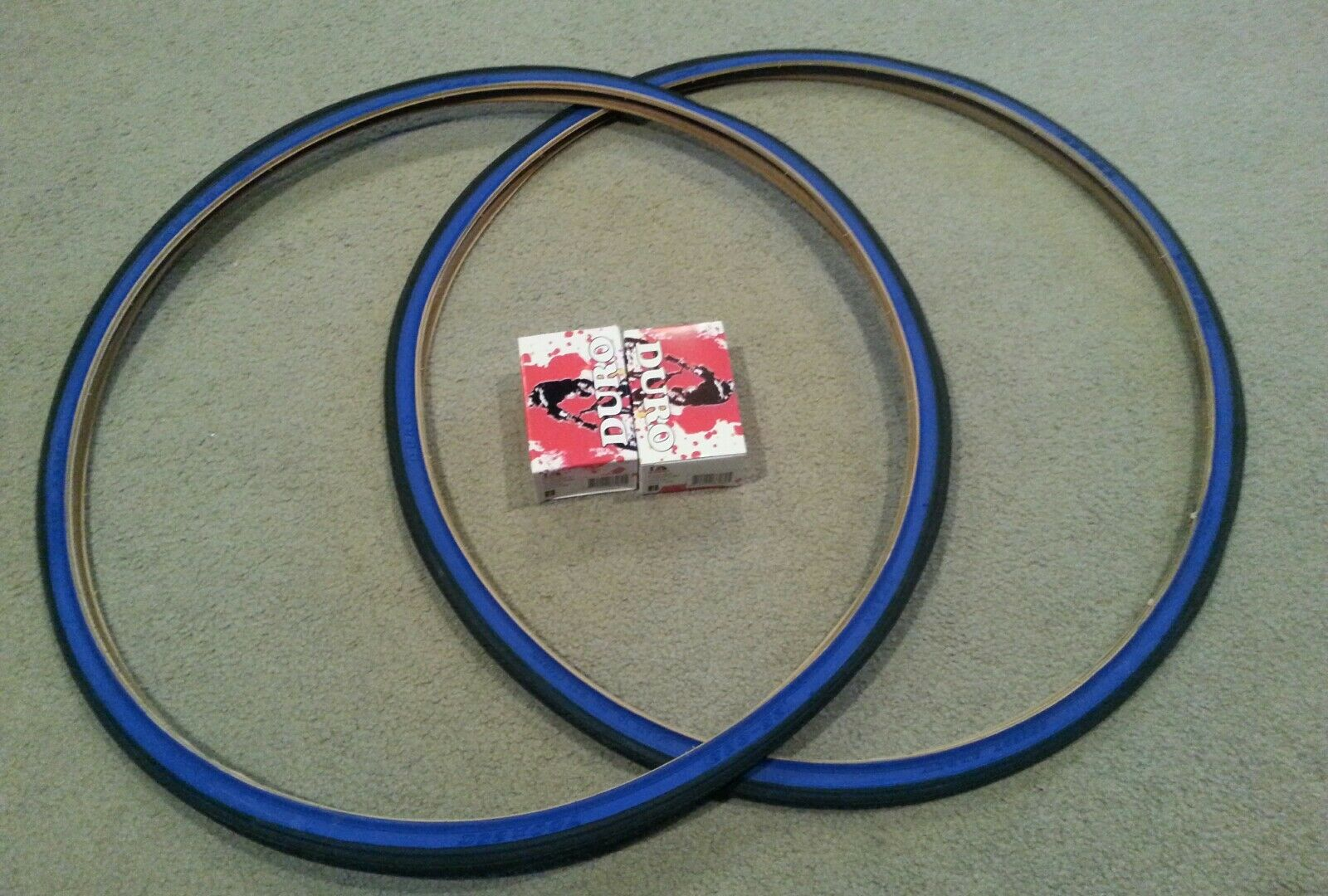 TWO(2) DURO 700x25C BICYCLE TIRES blueE WALL & 2 TUBES, ROAD FIXIE TRAC BIKES