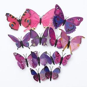 12-Pcs-Art-Decal-Home-Room-Wall-Stickers-3D-Butterfly-Sticker-Decorations-NEW