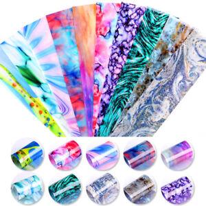 10Pcs-Nagel-Folien-Abziehbilder-Aufkleber-Transfer-Marble-Nail-Art-Dekoration