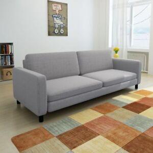 Dreisitzer-Sofa-Couch-Sessel-Sofagarnitur-Buero-Wohnzimmersofa-Stoff-Hellgrau-NEU