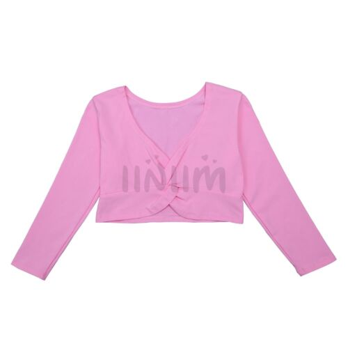 Kids Girls Children Ballet Dance Crossover Cardigan Wrap Knitted Top Sweaters