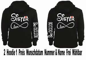 Hoodie mit Sister Sister Motiv Pullover Cap 4er Set Partner Look XS 2XL