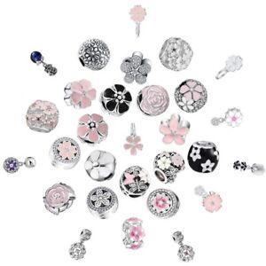 CZ-Enamel-Flower-Charms-Bead-Fit-925-Silver-Sterling-Bracelets-Necklace