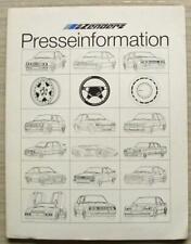 ZENDER Car Press Information Media Pack Dec 1987 BMW 325i  Porsche 911 Turbo CVT