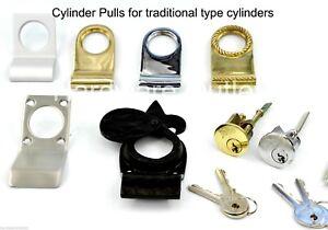 Victorian Style Cylinder Pull Brass or Chrome Door Pull NightLatch Yale Lock