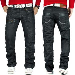 KOSMO-Lupo-Uomo-Jeans-Tempo-Libero-Pantaloni-Denim-Clubwear-Japan-Style-Nero-Dope