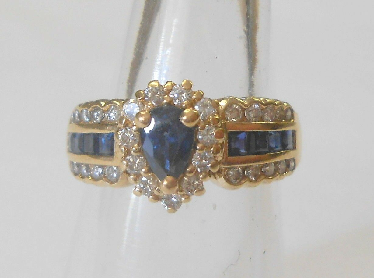Vintage Gorgeous bluee Sapphire Diamond 14K Yellow gold Ring Size 6.5 Signed HDS