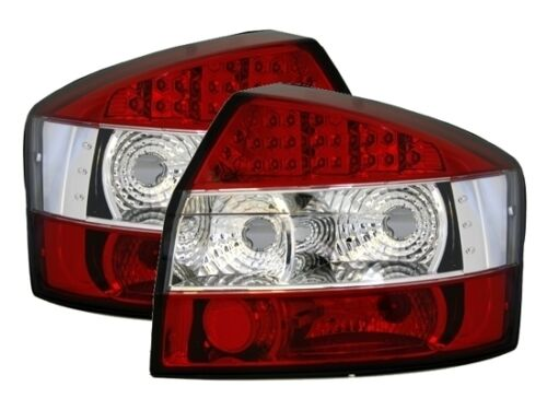 CRYSTAL CLEAR LED REAR TAIL LIGHTS LAMPS FOR AUDI A4 8E SALOON 2001-2004 MODEL