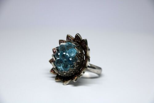 Beautiful lady Rough and Natural Diamond 925 Sterling Silver  stone Antique Ring