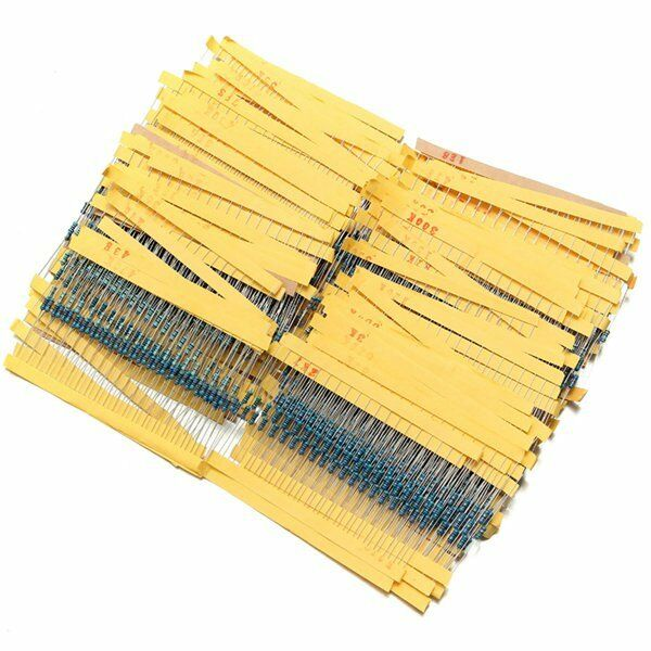 2600Pcs 130 Values 1/4W 0.25W 1% Metal Film Resistors Assorted Pack Kit Set