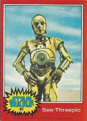 1977 Topps Star Wars Ser 2 Rouge #98 voir Threepio /> C-3PO /> Anthony Daniels /> Bonne