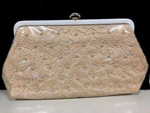 Vintage-Clutch-Purse-Lace-Pearls-Under-Plastic-Mid-century-Very-Sharp