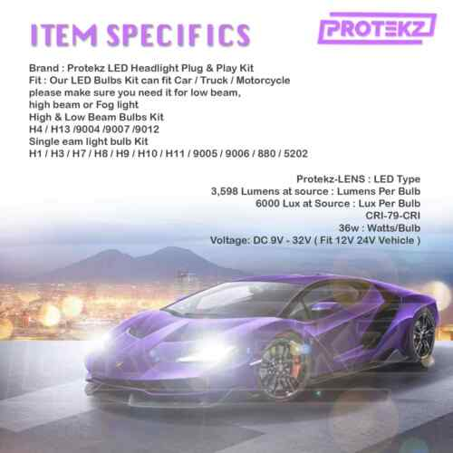 Protekz LED Fog Light Kit 2 Bulbs CREE H8 6000K for 2018-2019 Ford EcoSport