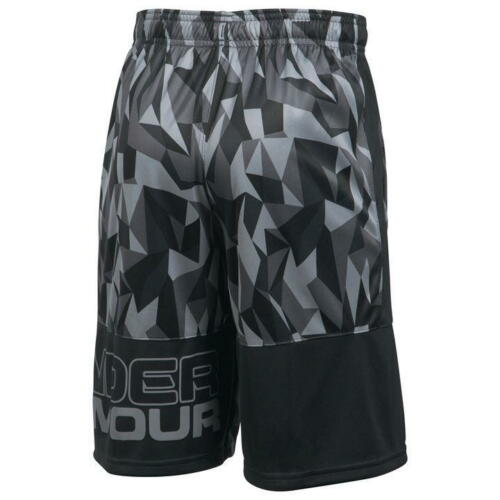 Sizes From 5-13 Years Under Armour Stunt Printed Black Junior Boys Shorts NEW