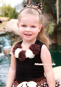 Black Pettitop Top with various Rosettes /& Bow 1-8Years