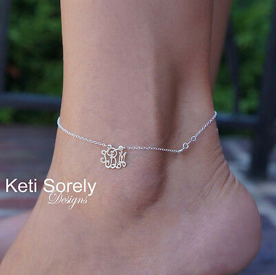 Personalized Monogram Initials Charm Anklet Sterling Silver or White Gold