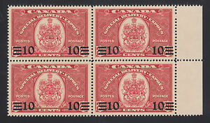 Canada Sc E9 MNH. 1939 10c on 20c Special Delivery, sheet margin block