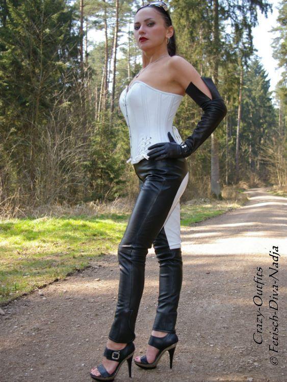 Lederhose Leder Hose black   white Reiterhosen-Style Größe 32 - 58 XS - XXXL