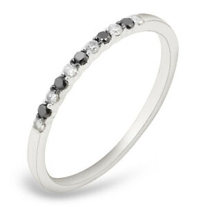 Goldenstar 0.20ct Natural Diamond Half Eternity Ring Gold Plated Sterling Silver Band